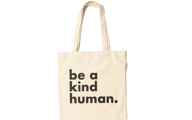 canvas tote with a be kind saying on it