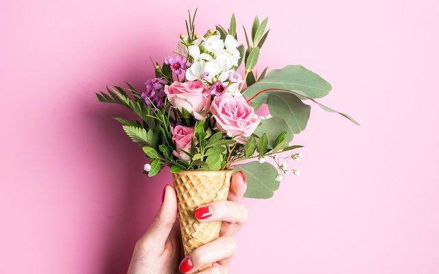 Flower Bouquet in Ice Cream Cone