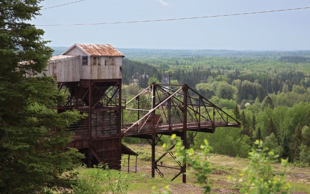 Old Iron ore mine looking out on valley
