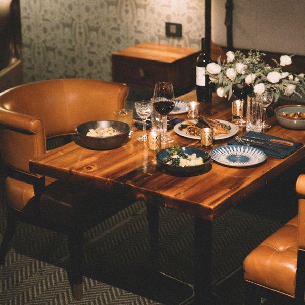 restaurant table setup in hotel room