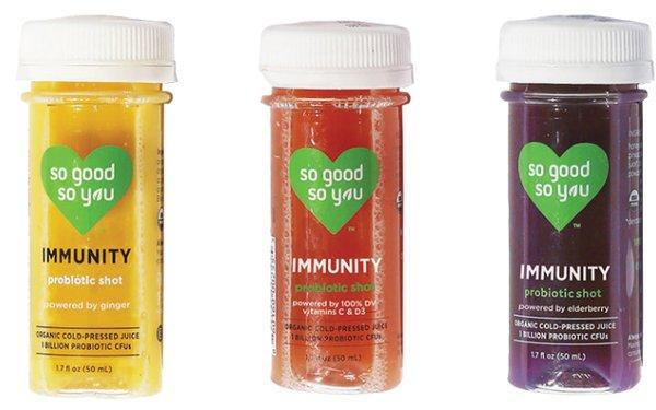 Three samples of probiotic shots
