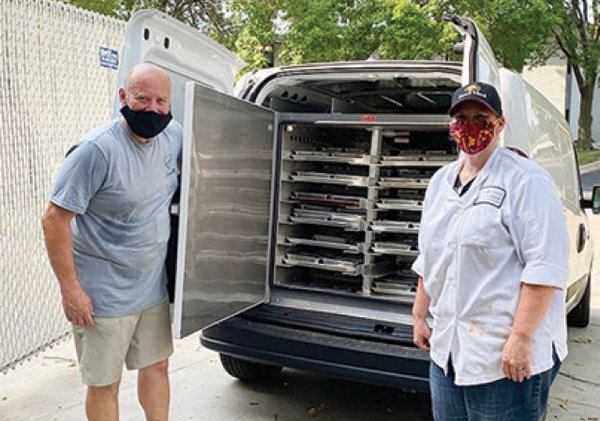 Food truck with two people in masks