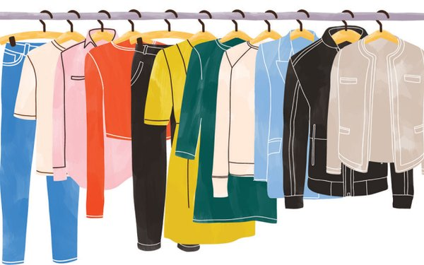 illustration of clothes on a rack