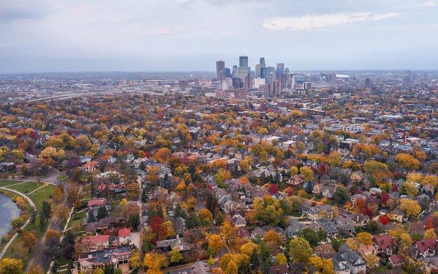 Aerial Image of Minneapolis in Fall