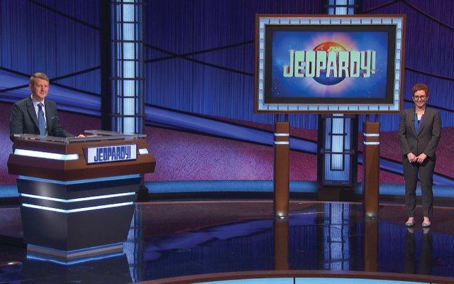 Jennifer Linde on the set of Jeopardy