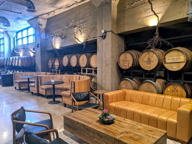 barrels and seating at axebridge
