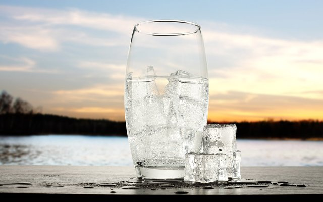 Glass of Ice Water by Lake