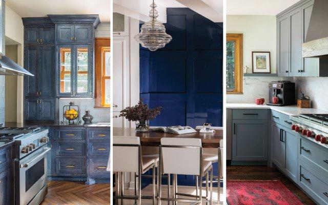 three different blue kitchens