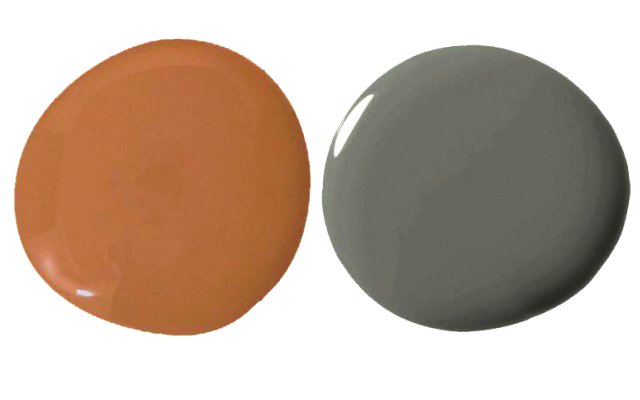 two paint samples one orange and on grey
