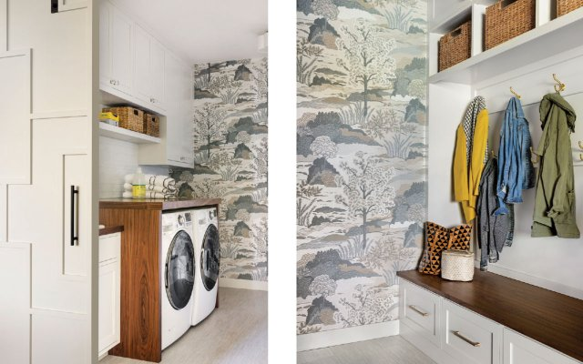 two images one laundry and the other mudroom
