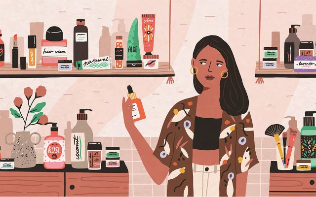 Woman Shopping for Beauty Products Illustration