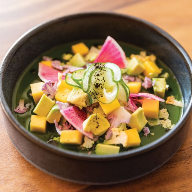 Aguachile with an assortment of vegetables