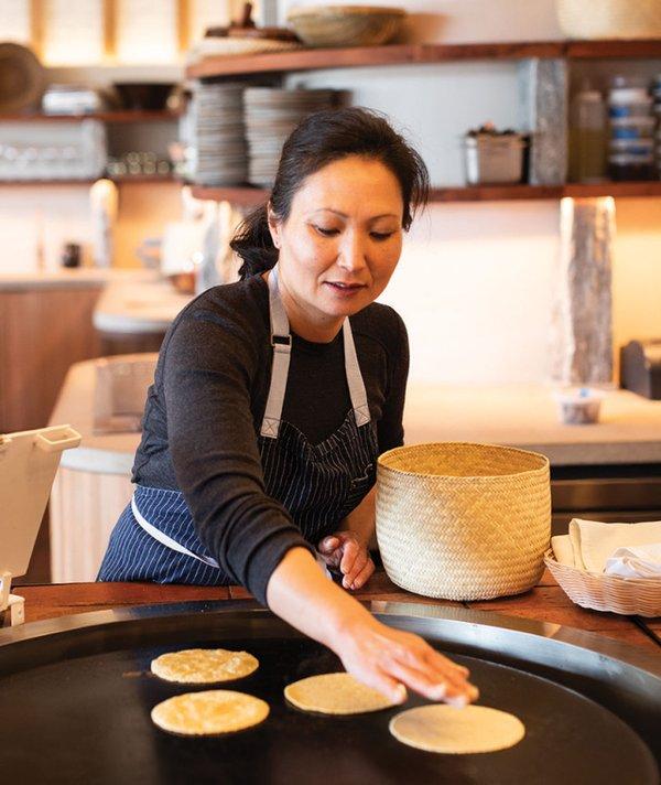 Ann Kim making tortillas