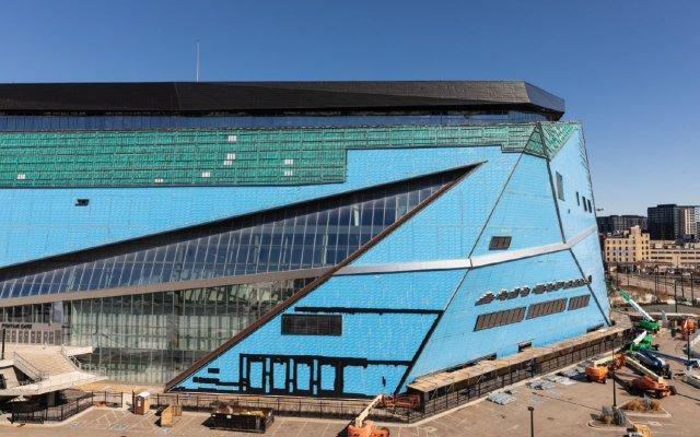 U S bank stadium with siding off