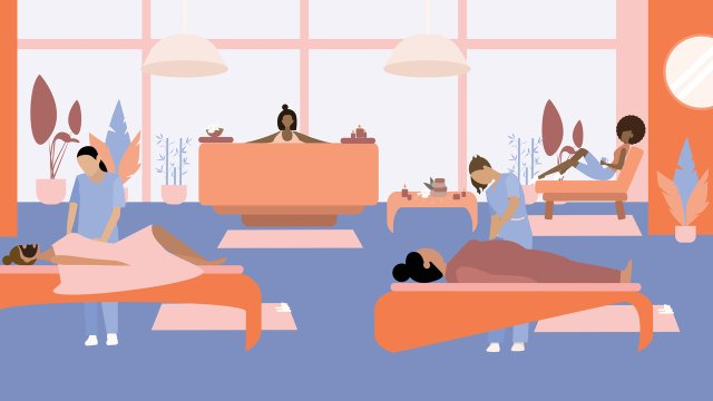 illustration of massage therapy patients in open plan room