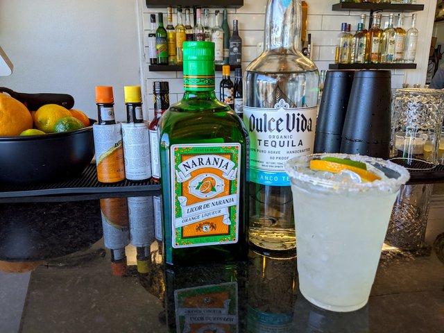 margarita and bottles