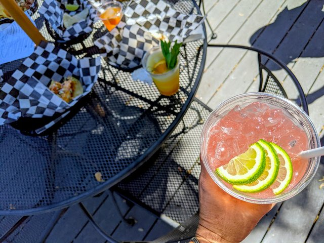 drinks and patio table