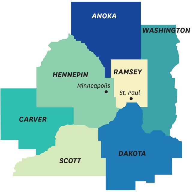 7 counties around Minneapolis