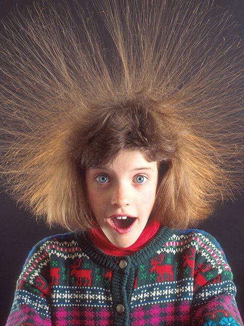 Girl with static hair