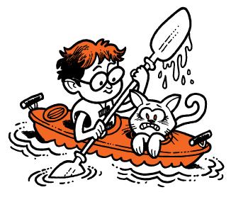 Kid in a boat illustration