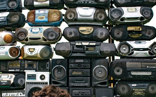 wall of boom boxes