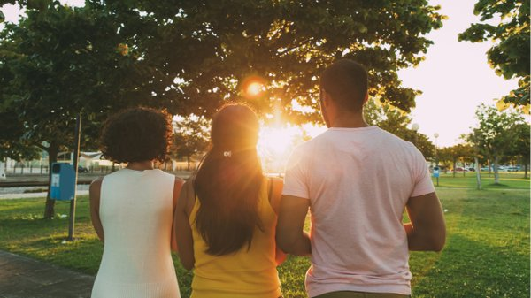 people at park overlooking sunset, backs turned