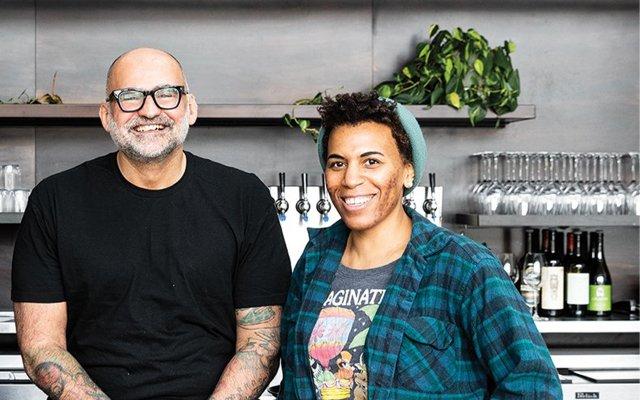 man and woman at counter