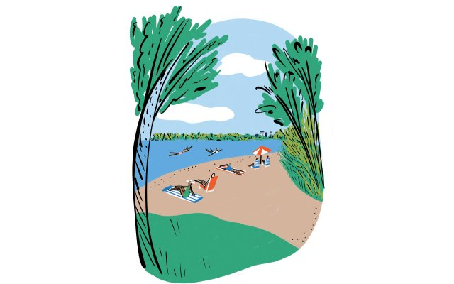 An illustration of people on a beach