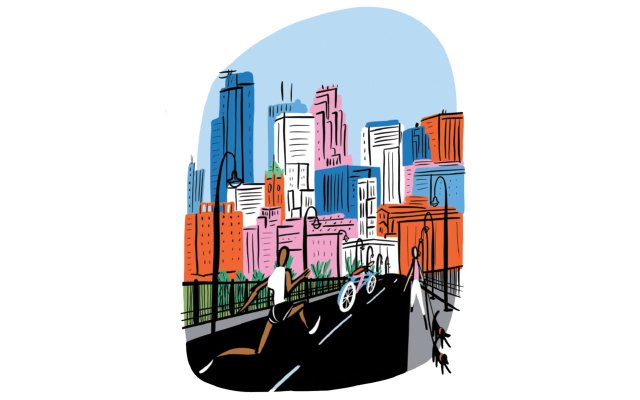 illustration a runner on Stone Arch Bridge with skyline in the background