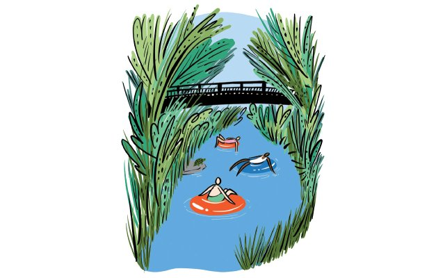 Illustration of tubers floating down a creek