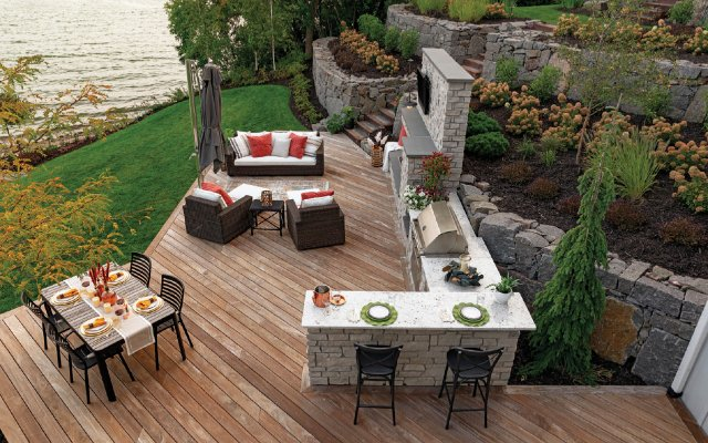 view of the outdoor living space from above