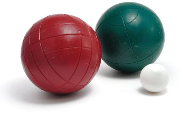 two bocce balls one green and one red plus the pea