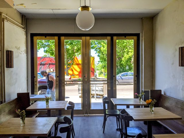 dining room with huge patio doors