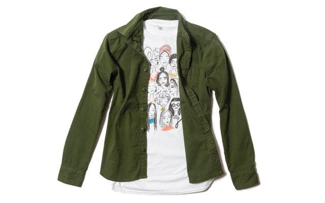 green shirt with tee shirt