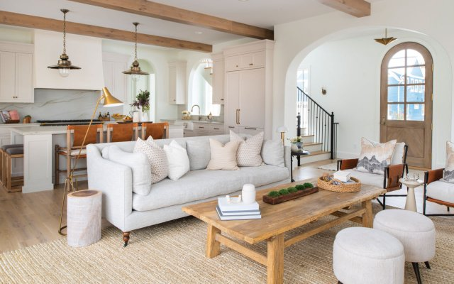 living room with wooden beams