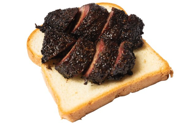 Barbecued beef on white bread