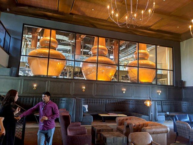 three pot stills at the distillery