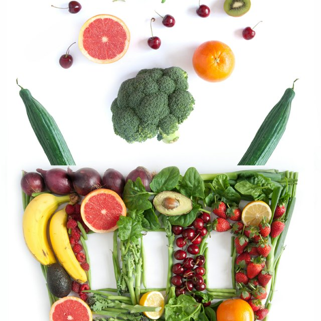 healthy food falling into basket