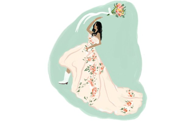 illustration of a bride tossing a bouquet