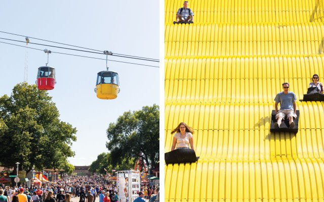 split screen with gondola ride on left and giant slide on the right