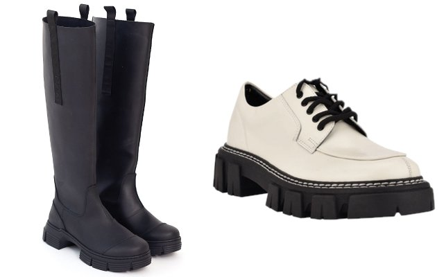 black rubber boots and a white shoe