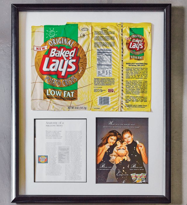 The first bag of Baked Lay's off the assembly line now hangs as art