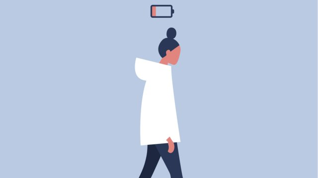 illustration of woman with a low battery icon hovering above head