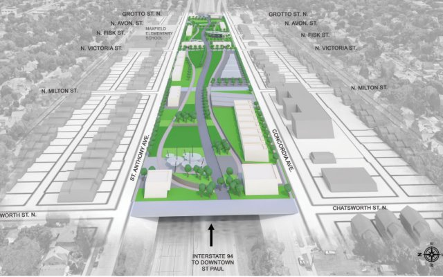 A fully realized Rondo land bridge would cover I-94 for more than five city blocks and include redevelopment   on both sides.