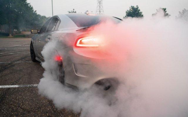 car burning rubber