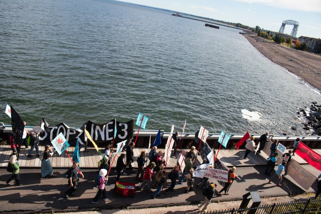 A Line 3 protest in Duluth in 2019