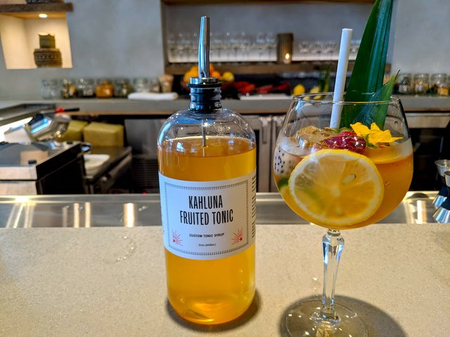 one tonic drink with bottle