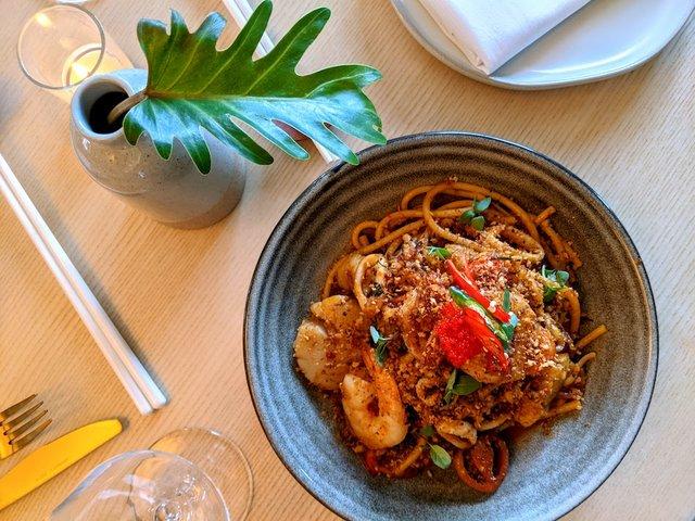 bucatini with seafood