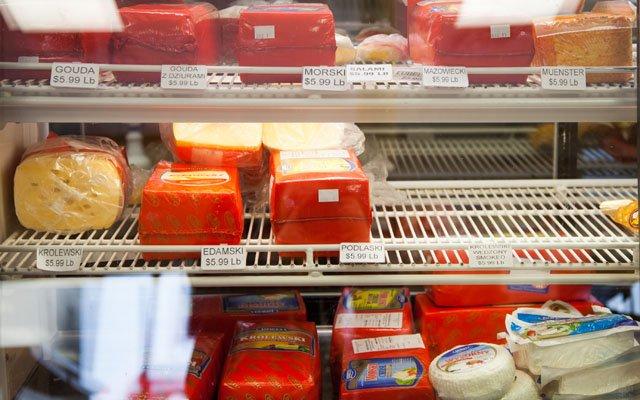 Cheese display at Sikora Polish Market
