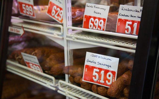 Meat display at Sikora's Polish Market